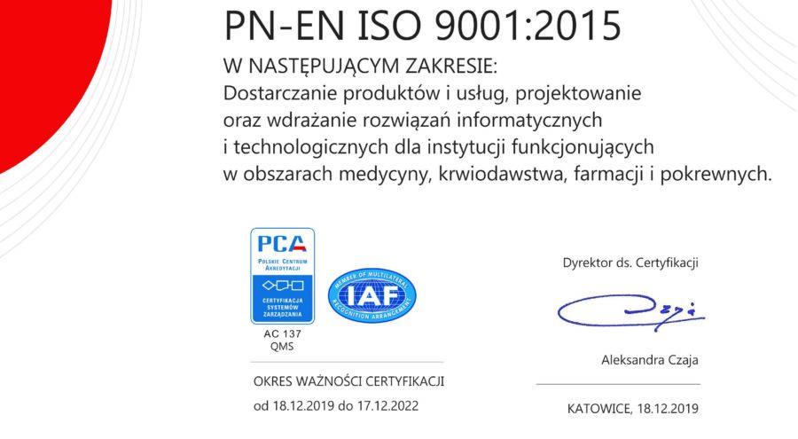 Certyfikat PN-EN ISO 9001:2015 dla M2M Team Sp. z o.o.